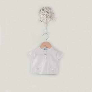Jersey Zefir blanco manga corta y bolsillos delanteros