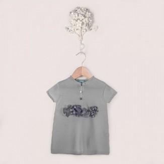 Vestido Eli manga corta detalle flores en la cintura