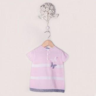 Vestido Dream punto 100% algodón rosa manga corta