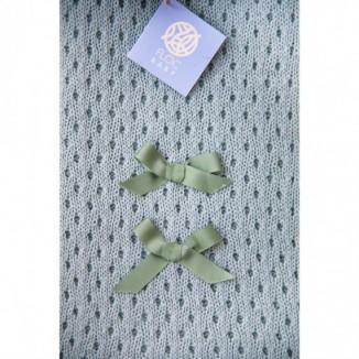 Manta Romina para bebé en color verde de punto 100% algodón