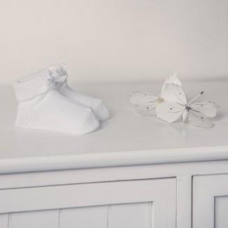 Patucos color liso de punto en algodón 100%. Color blanco