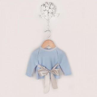 Jersey manga larga en color celeste y lazo de raso.