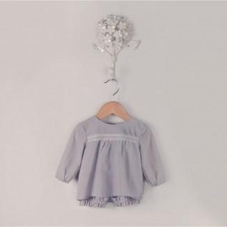 Camiseta de manga larga modelo Aqua con puntilla en algodón 100%