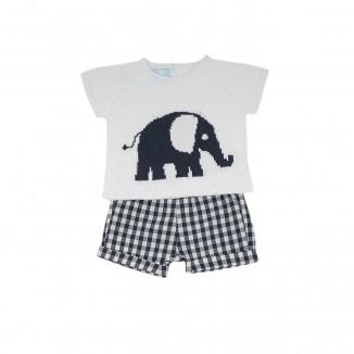 Jersey Elephant y Pantalón corto en blanco y azul marino