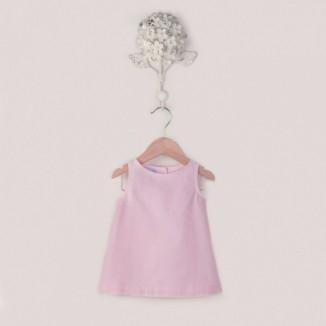 Vestido Trapecio Classic sin manga tejido Oxford rosa